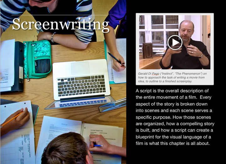 Screenwriting chapter intro page