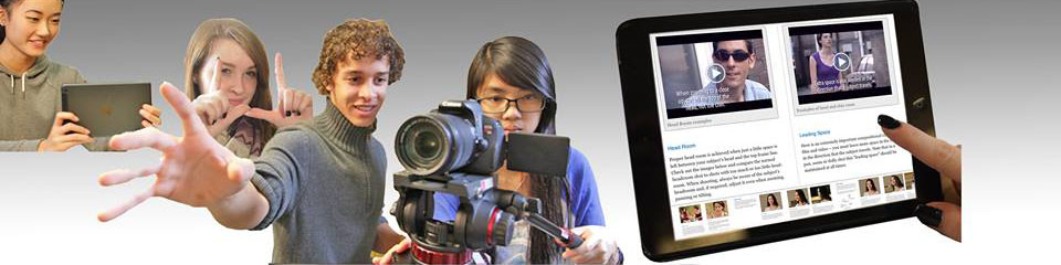 Cyber Film School Students, camera and iPad banner