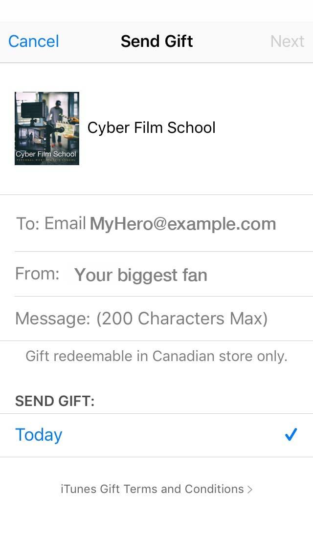 Gifting Cyber FIlm school iBook step 3
