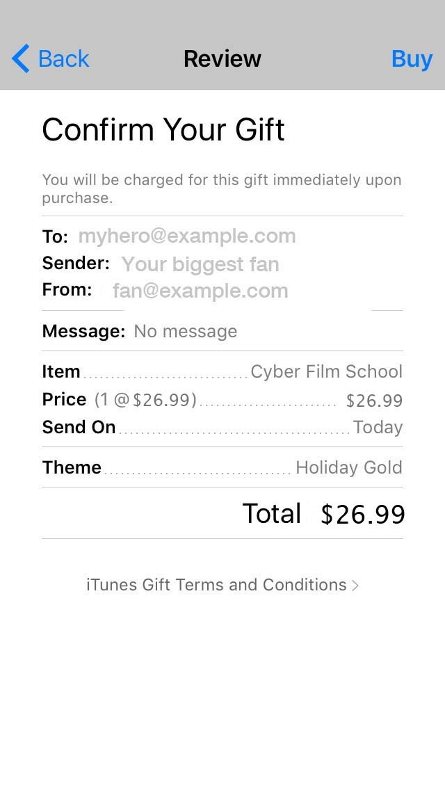 Step 5. how to gift cyber film school iBook
