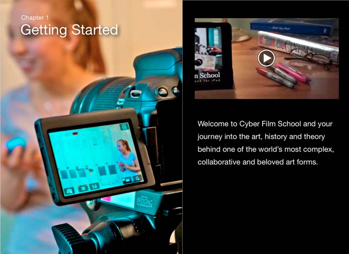 Cyber Film School iBook Getting started intro page