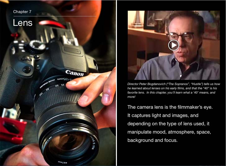 Cyber Film School iBook Lens Chapter cover with Peter Bogdanovich