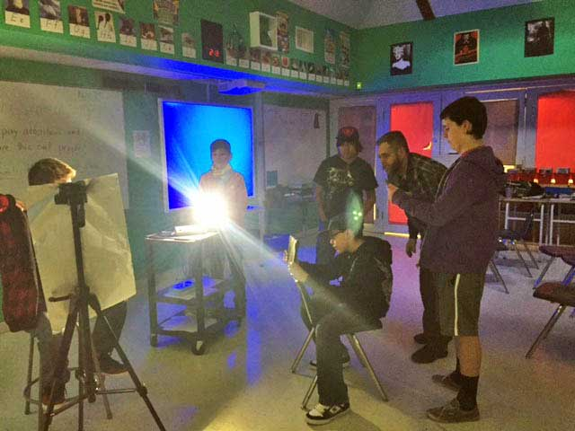 Class does Cyber Film School lighting exercise